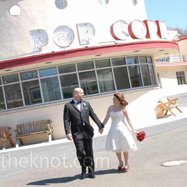 For sentimental reasons, Carrie chose to hold their reception in the Spanish Ballroom and Bumper Car Pavilion at Glen Echo Park, where she has been dancing for years.