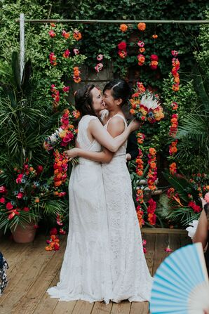 Tropical Floral Ceremony Backdrop at MyMoon in Brooklyn, New York