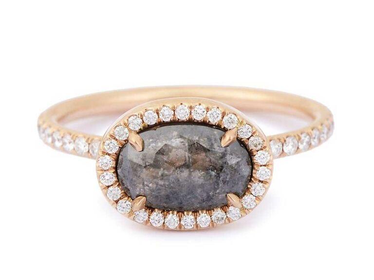 Rose-cut black diamond engagement ring with white diamond halo