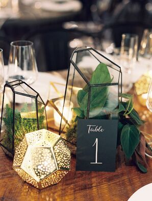 Geometric Terrarium and Candle Centerpieces