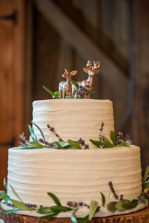 Simple White Cake with Deer Cake Topper