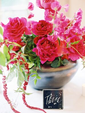 Classic, Vibrant Spring Arrangement of Peonies and Sweet Peas