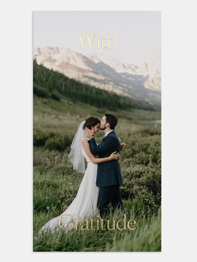 couple photo wedding thank-you card with foil stamping
