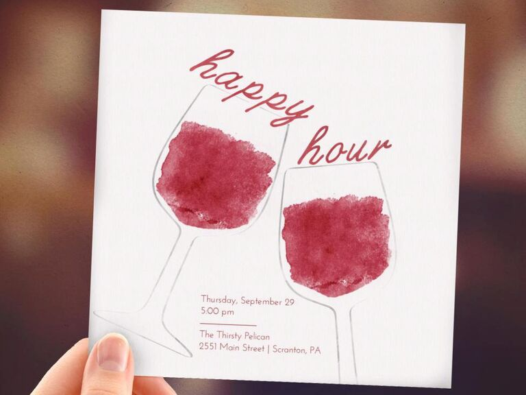 Happy hour invitations from Etsy