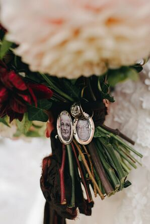 Locket Around Bouquet for Wedding at The Beverly Mansion in Marengo, Ohio