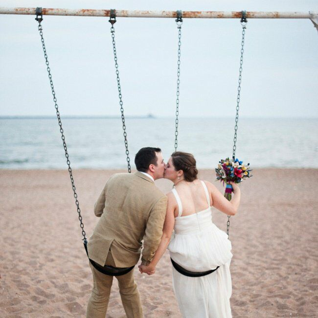 """Lighthouse Point Park was a really informal setting with a real sense of history, and it lent itself perfectly to our primary goal for our wedding—that people have fun!"" Natalie says"