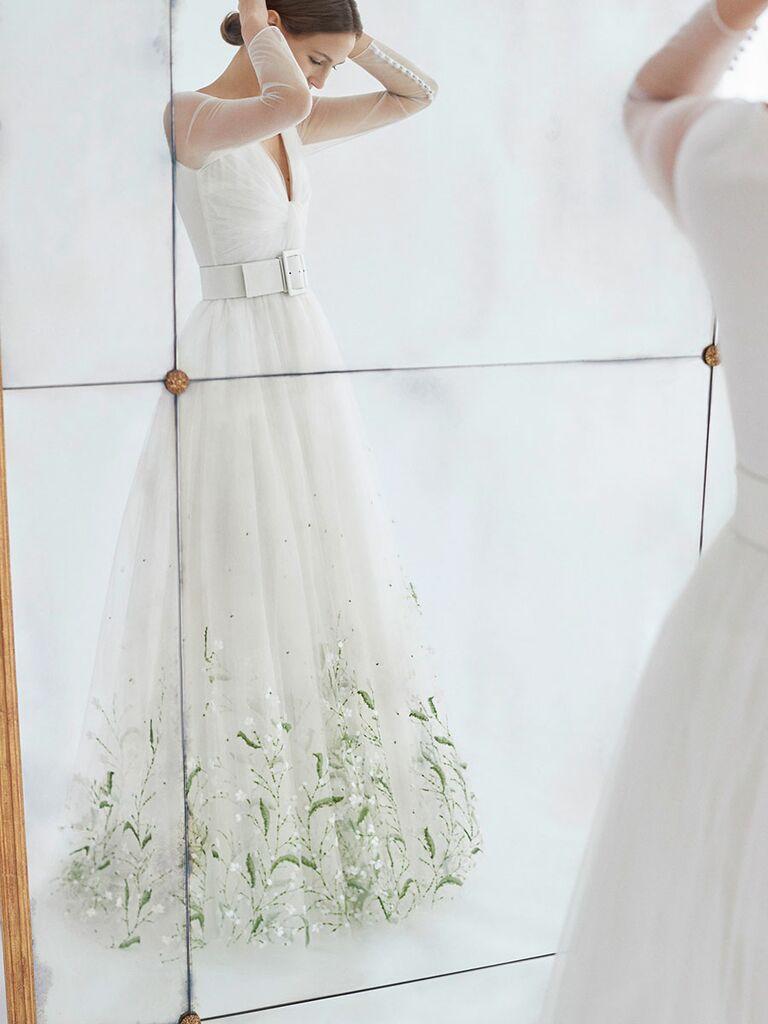 bf798bc52df Carolina Herrera Fall 2018 illusion long sleeve A-line wedding dress with  green and white