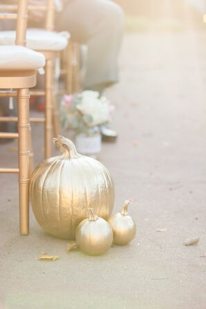 Gold Painted Pumpkin Aisle Markers