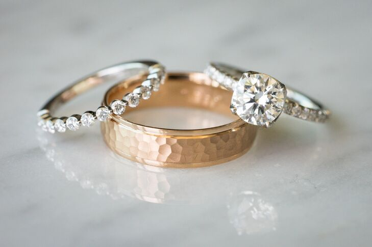Diamond and Gold Wedding Bands