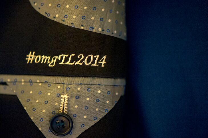 Hashtag stitched inside the groom's jacket