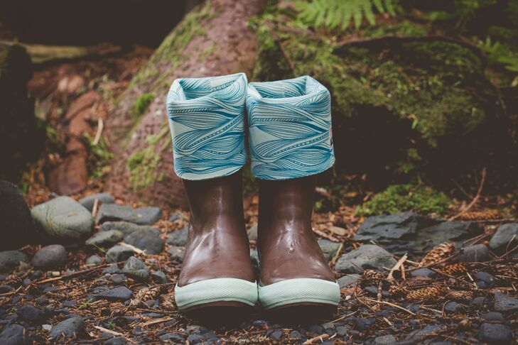 """""""Everyone wears Xtratuf boots in southeastern Alaska,"""" Megan says. """"Like many before us, we even got married in them."""""""