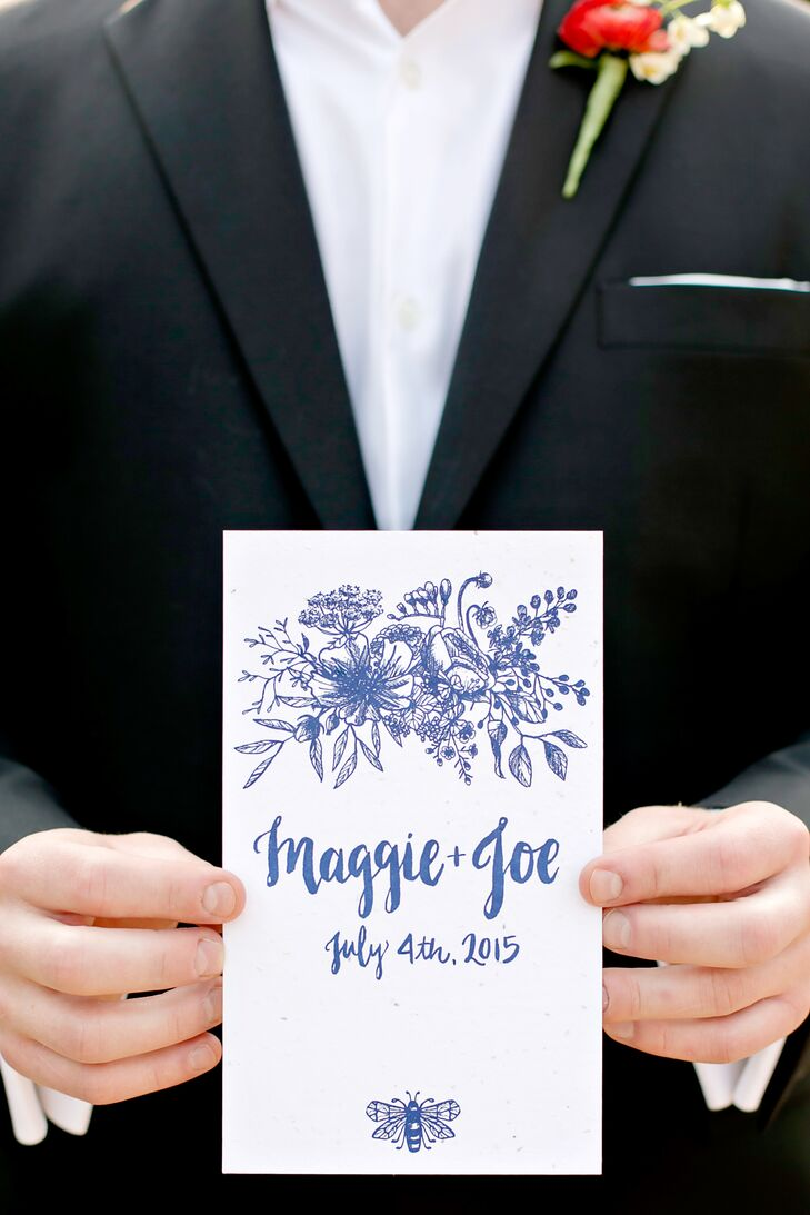 "Maggie and Joe printed their ceremony programs on seed paper, which guests could take home and plant in their gardens. ""We wanted to reduce waste whenever possible,"" Maggie says of the eco-friendly paper goods."