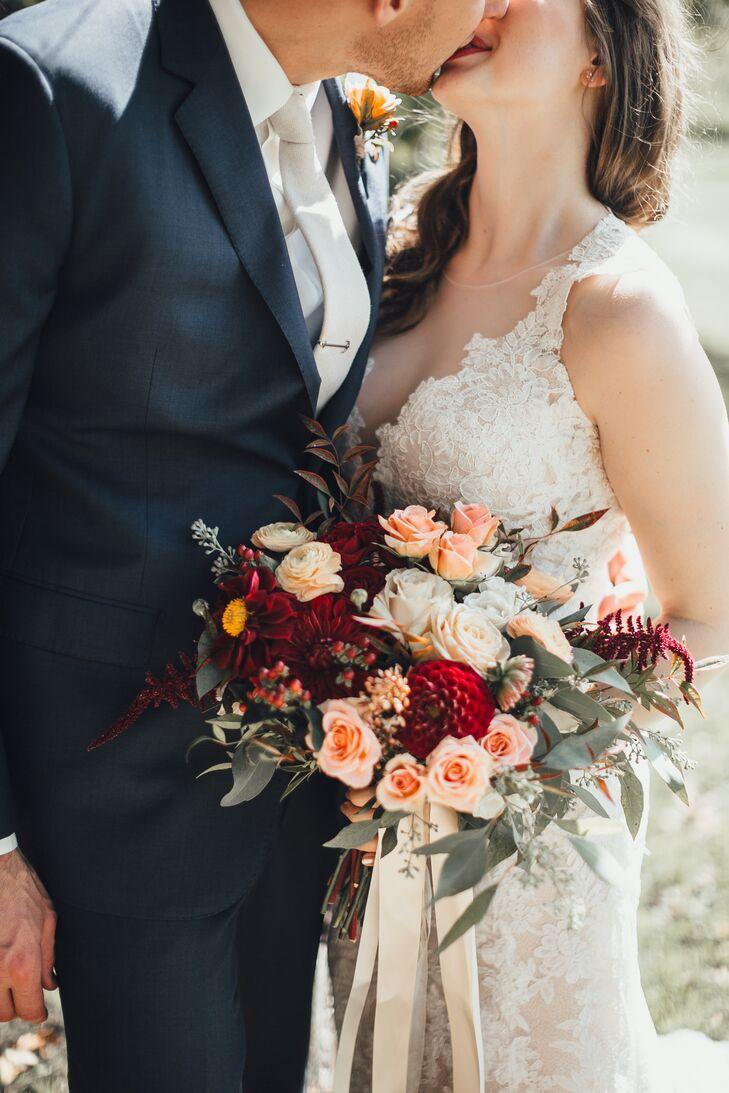 Bridal Bouquet with Dahlias, Eucalyptus and Roses