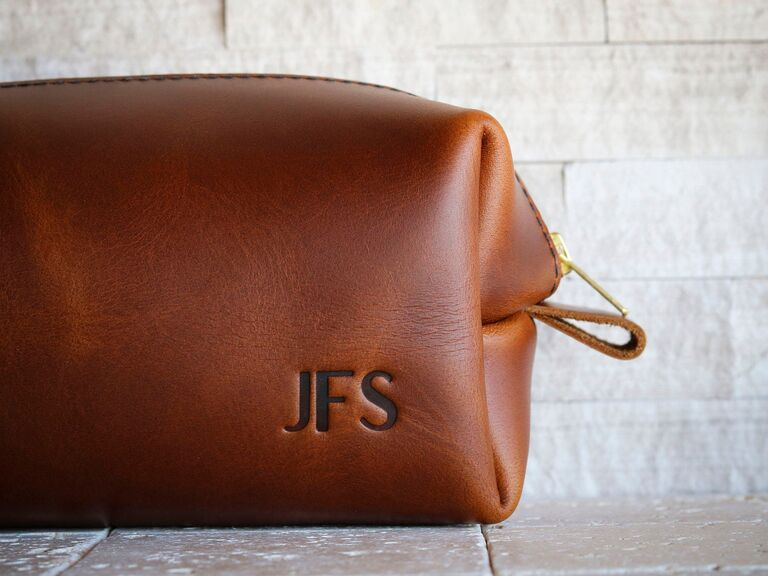 Custom leather toiletry bag father of the groom gift