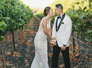 "June	Quan and Dan Tran hosted a winter-themed wedding at her parent's vineyard in Sonoma, California. ""We love Christmas, but an outdoor wedding in So"