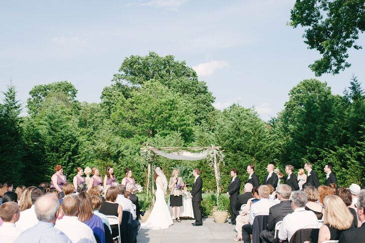 The ceremony took place in the Tuscan Garden underneath a birch Chuppah that had amaranthus and other hanging greenery.