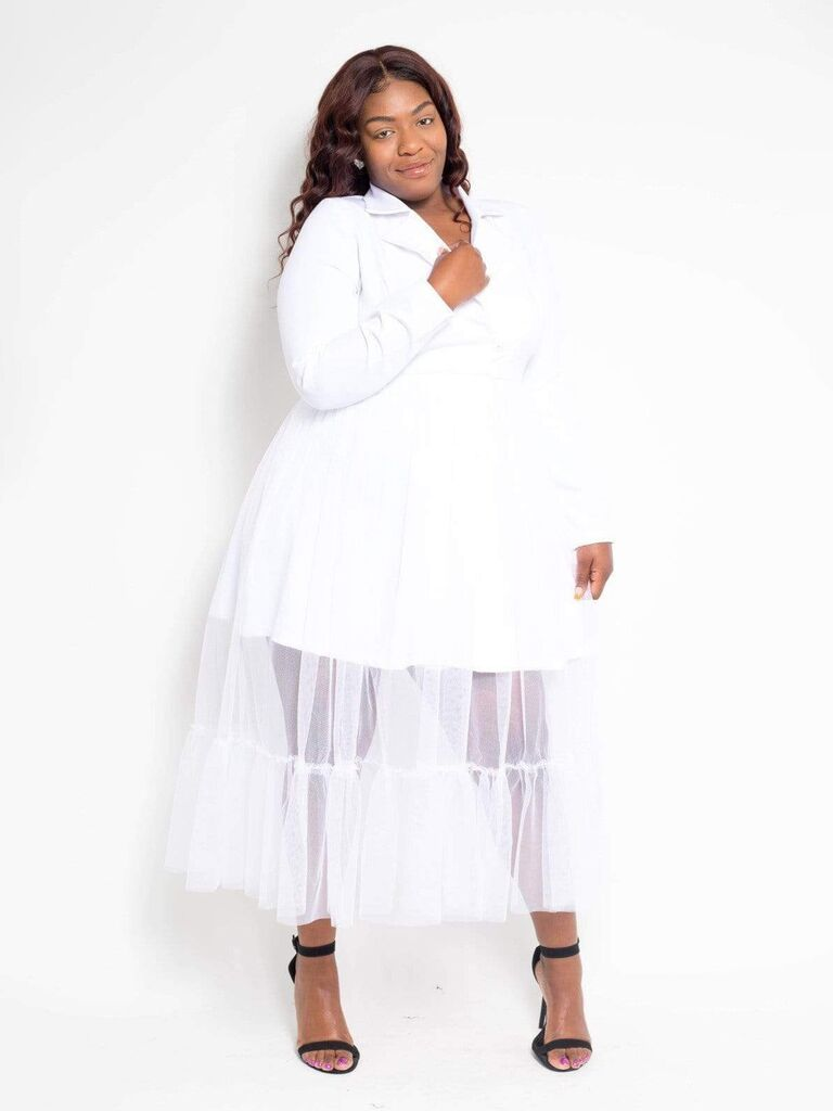 Tulle plus-size engagement party dress with blazer