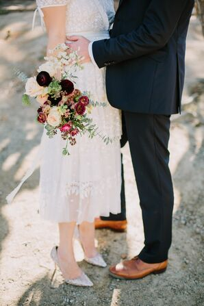 Casual Short Wedding Dress, Silver Heels and Rose Bouquet