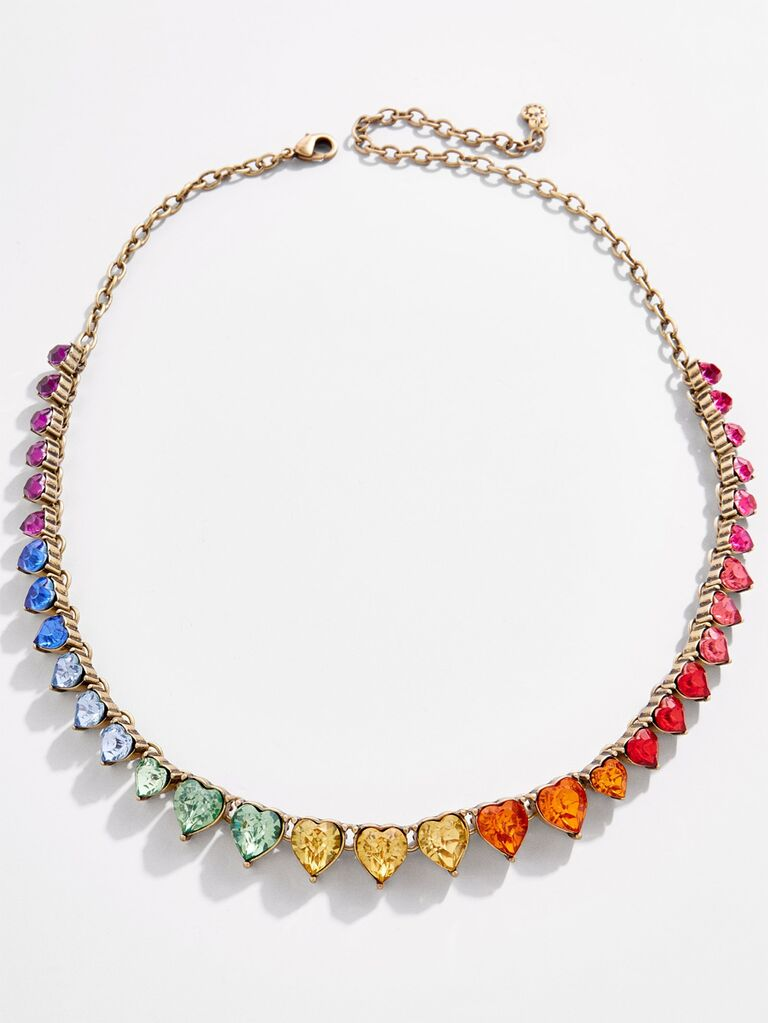 Rainbow heart crystal statement wedding necklace