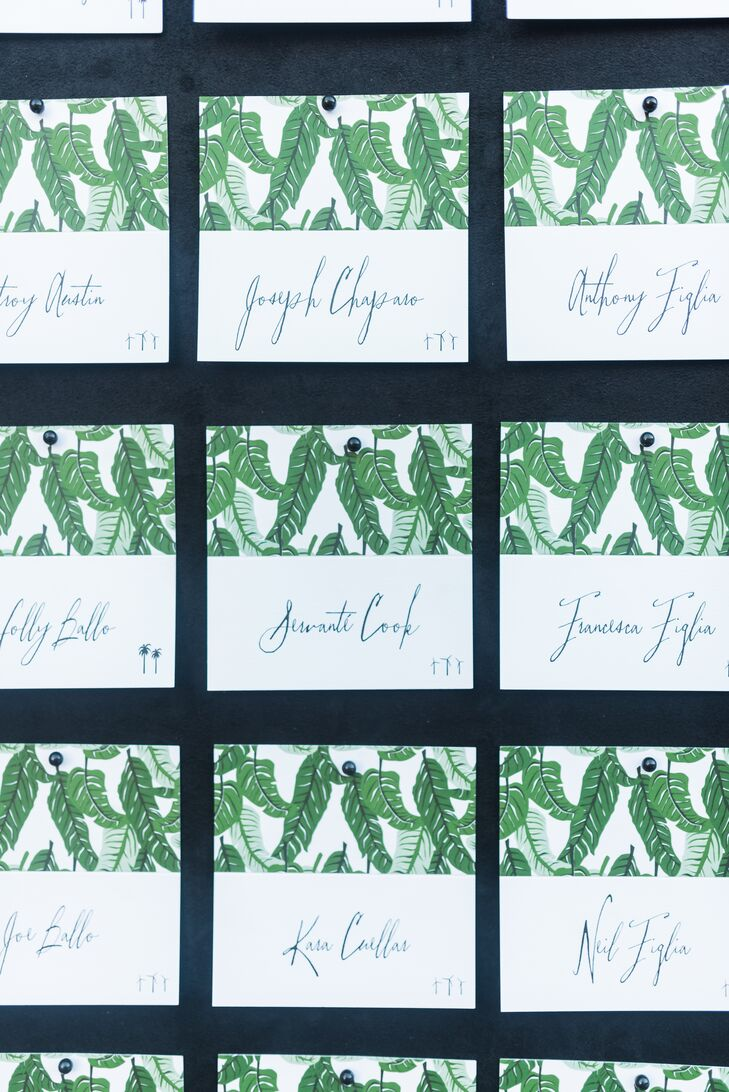 Modern Escort Cards with Leaf Illustrations