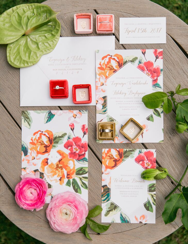 Bettylu Paperie helped create the couple's tropical-inspired invitation suite, which included bright pink and orange blossoms.