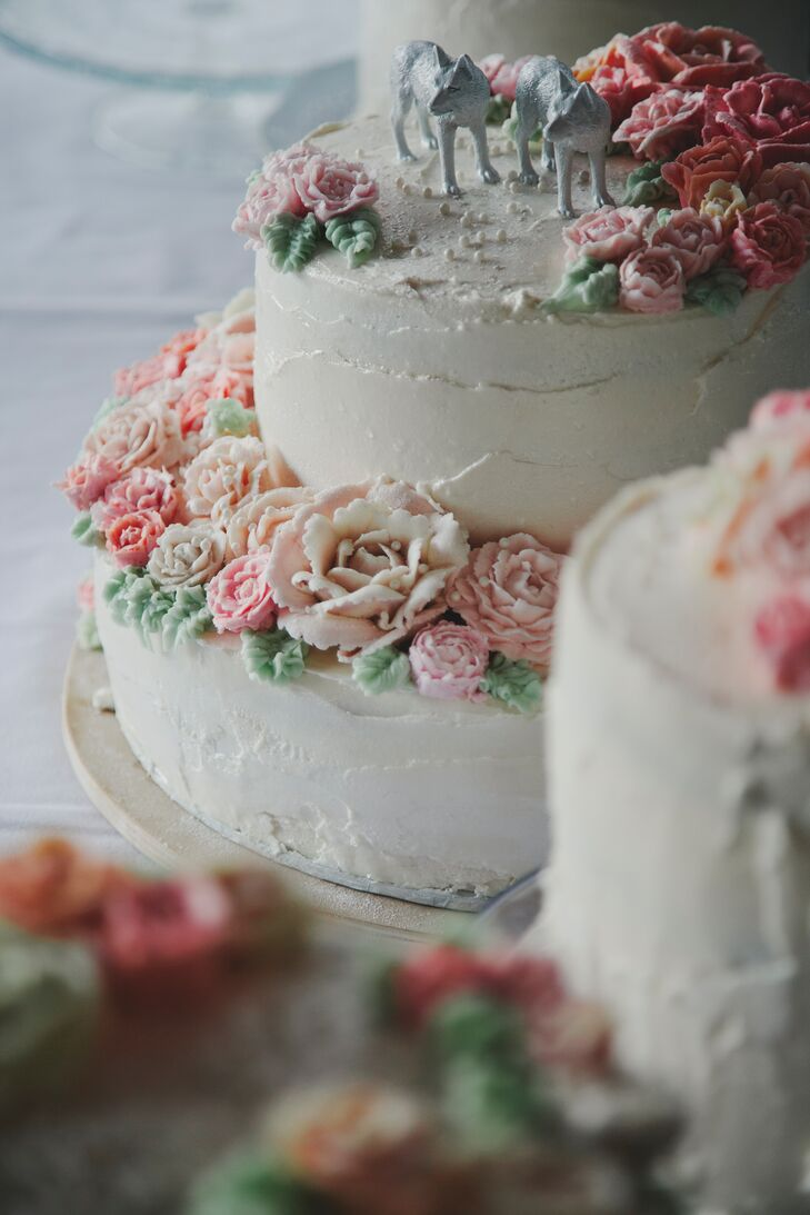 Homemade Buttercream Wedding Cake with Rose Cake Flowers