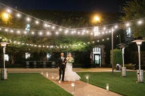 Processional with String Lights for Wedding in Yountville, California