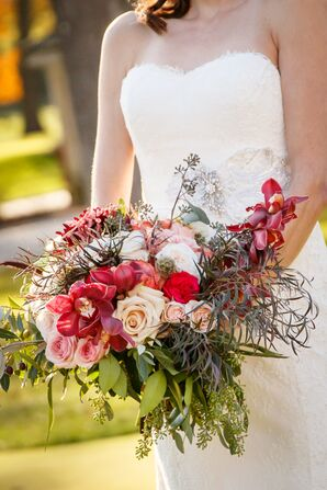 Dramatic Red Orchid, Rose and Wildflower Bouquet