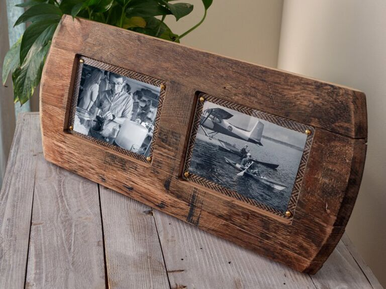 Reclaimed whiskey barrel picture frame gift for father-in-law