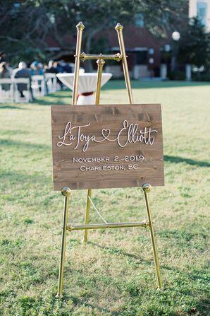 Wood Welcome Sign at Charleston, South Carolina, Wedding