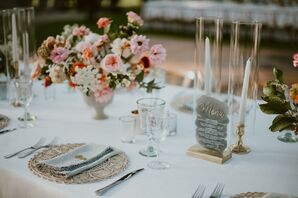 Romantic Dining Table with Flower Centerpiece, Candles and Menu