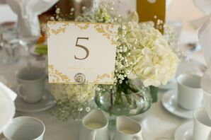 White Hydrangea and Baby's Breath Centerpieces