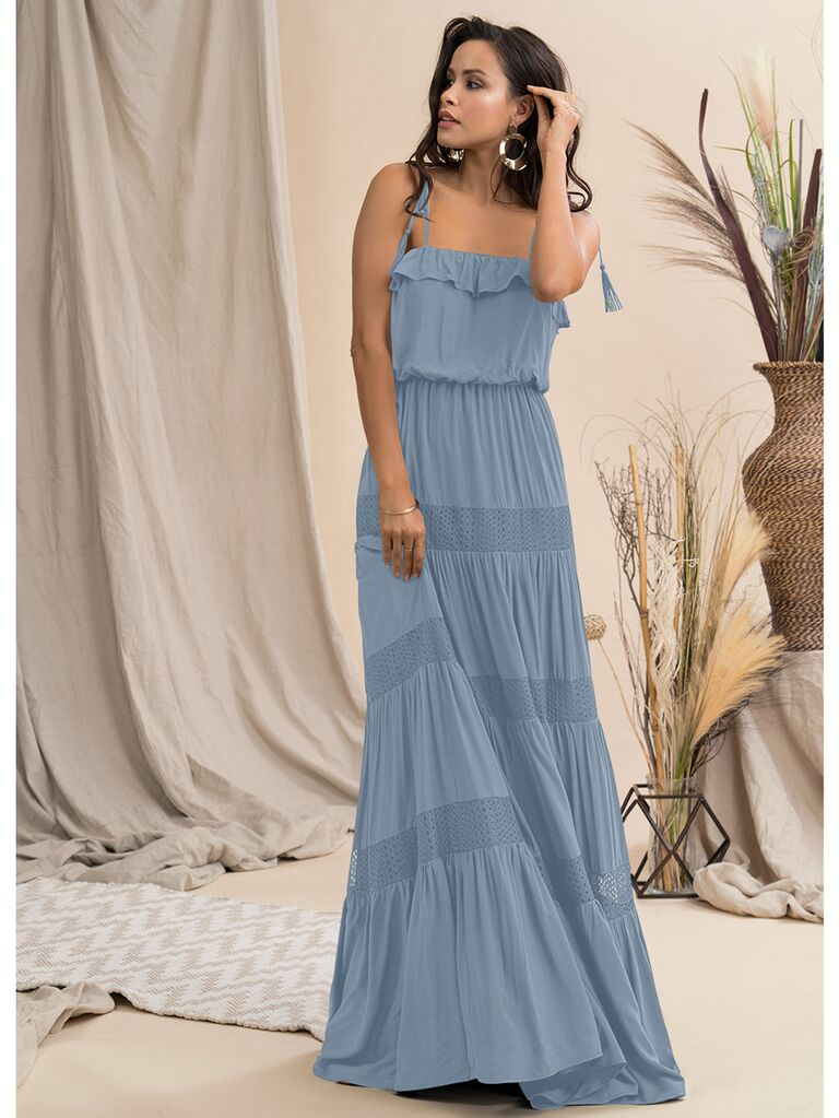 Blue tiered maxi dress with tie straps