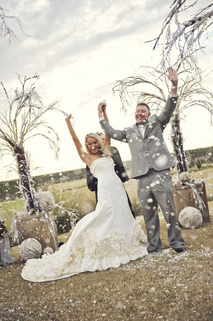 The Bride Samantha Stevenson, 27, works at an orthodontic practice The Groom Josh David, 34, owns McDonald's franchises The Date January 21  Though they were getting married in Florida, the couple still wanted to create a winter wonderland. They used birchwood and plenty of wintry accents to achieve the look they were going for.