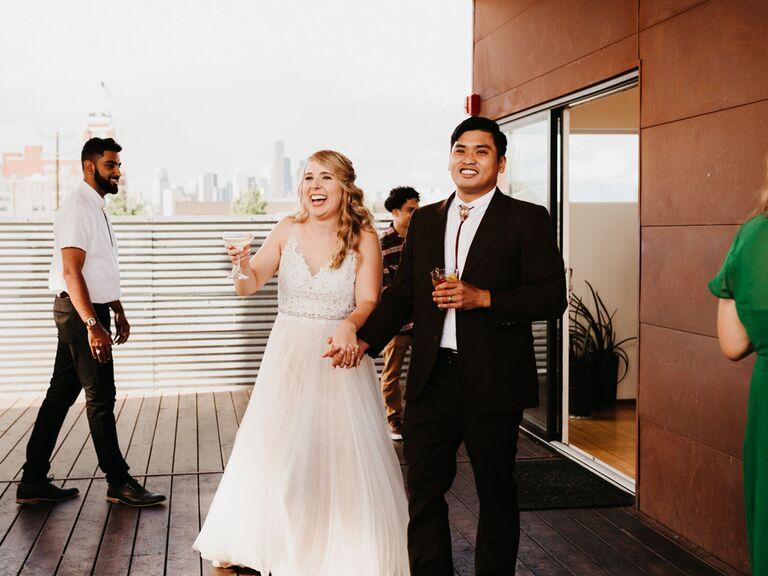 Couple wedding reception entrance
