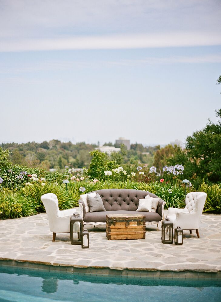 Lounge areas around the private estate provided guests with different places to mingle post-ceremony.