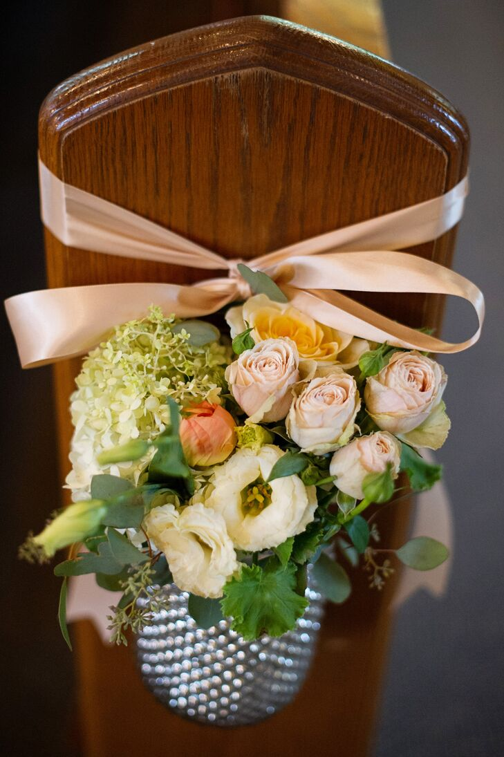 Neutral-Colored Flower Aisle Decor With Blush Ribbon