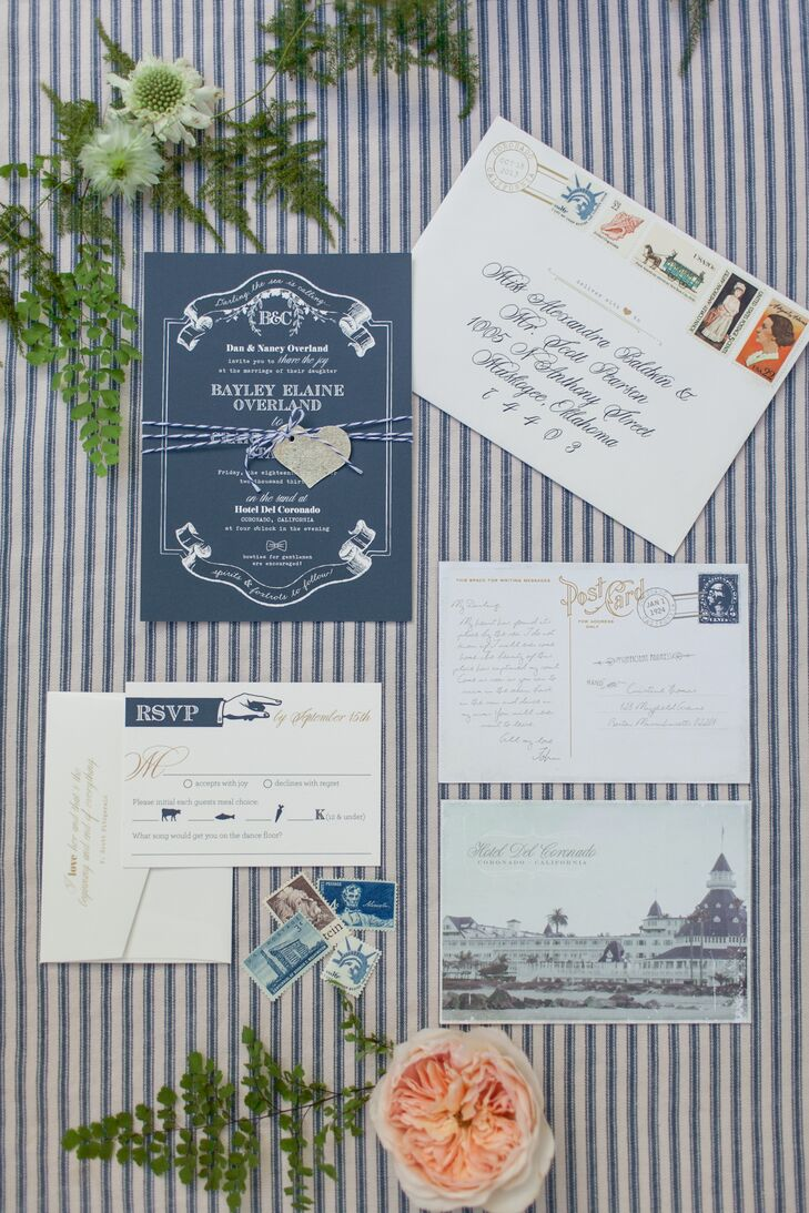 The navy and white stationary for the wedding invitations had an art deco style that reflected the historic theme of the wedding.