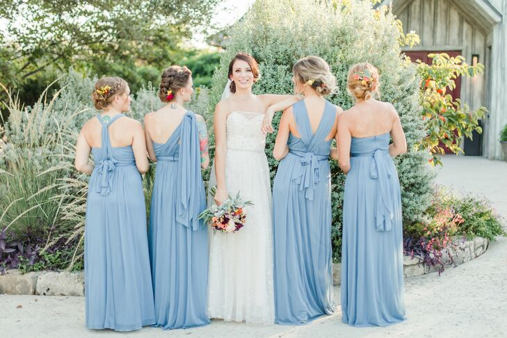 Long Blue Multiway Bridesmaid Dresses and Floral Updos