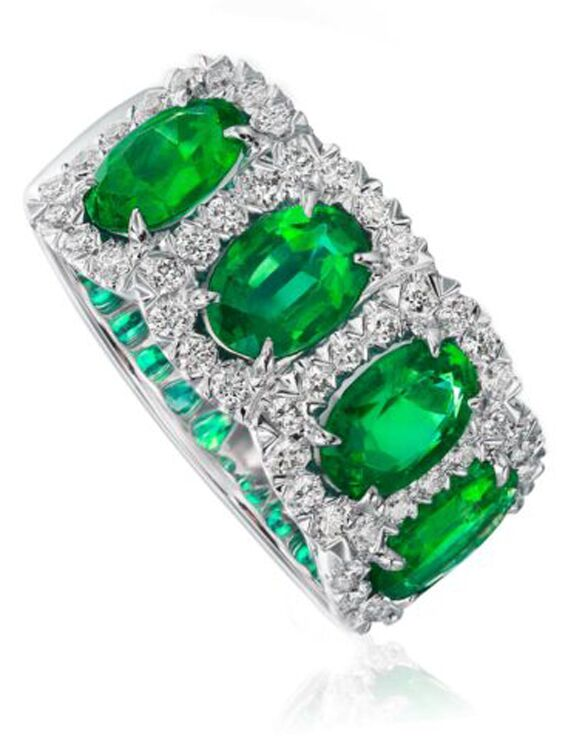 Oval emerald and diamond engagement band