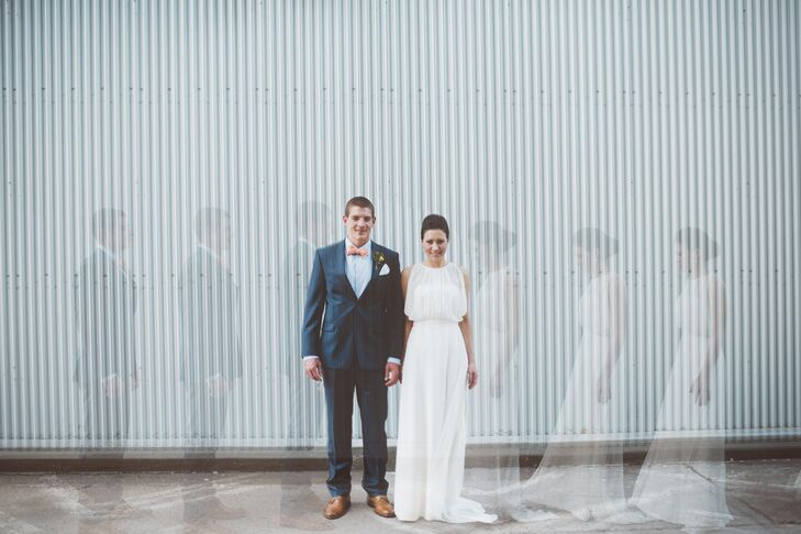 A special photography effect creates three images of the couple.