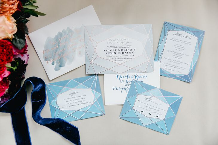 Blue Invitation Suite with Geometric Design