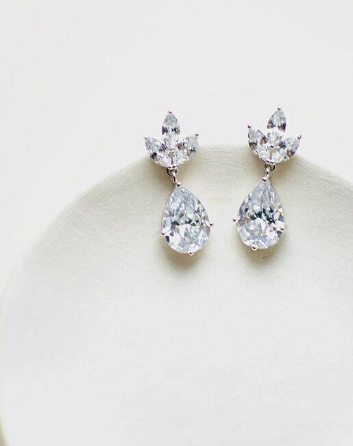 Dareth Colburn Fleurette CZ Bridal Earrings (JE-4163-S) Wedding Earrings photo