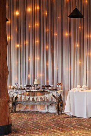 Rustic DIY Dessert Table with String Lights