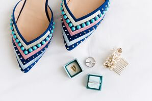 Blue Studded Heels with Beading and Pointed Toe