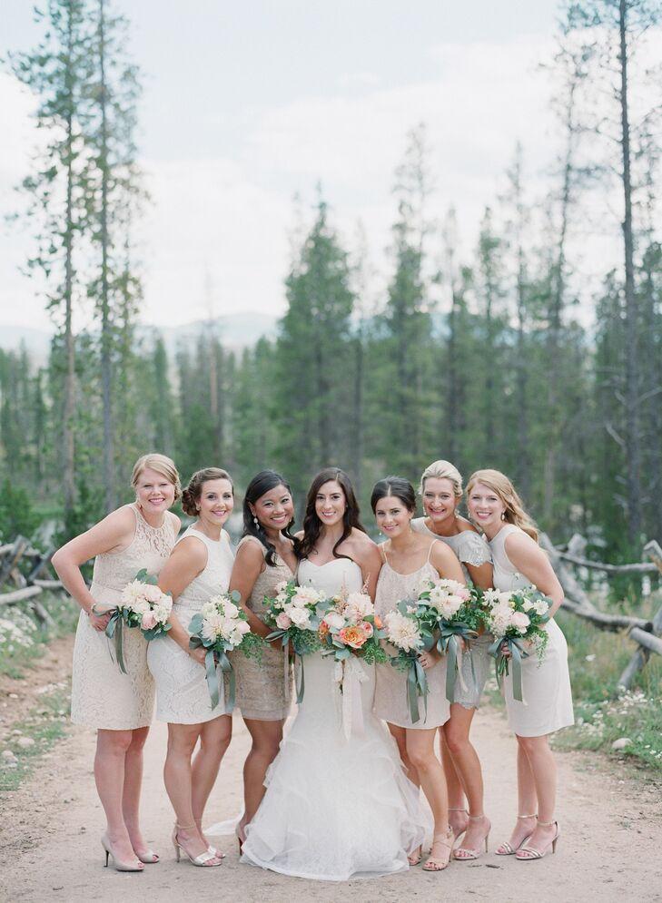 """Nicole told her bridesmaids they could wear any dress they wanted as long as it was short, neutral, and wasn't actually a bridesmaid dress. """"I wanted their personal style to shine through,"""" she says."""