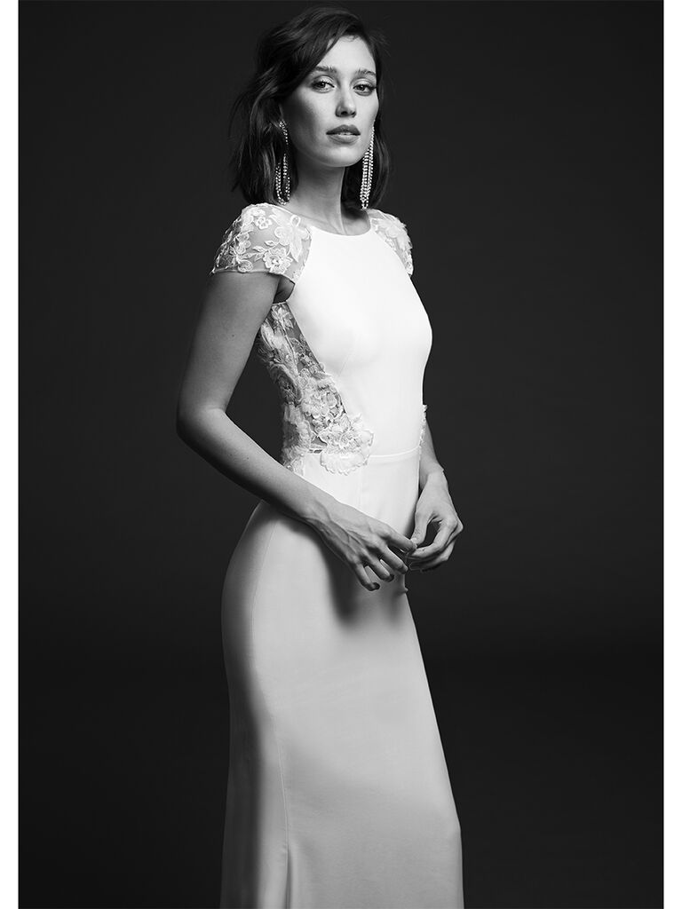 Rime Arodaky fitted dress with 3D appliques