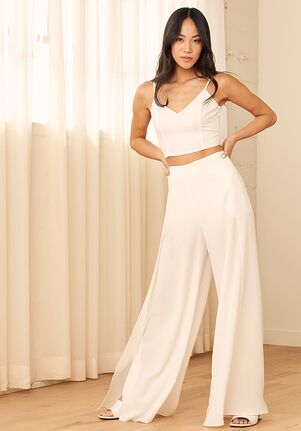 Lulus Out Tonight White Two-Piece Jumpsuit Wedding Dress