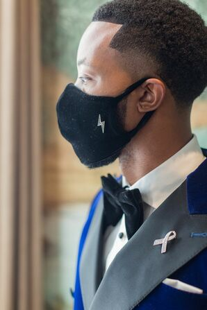 Groom Wearing Mask for Wedding at The Faulkner in Jackson, Mississippi
