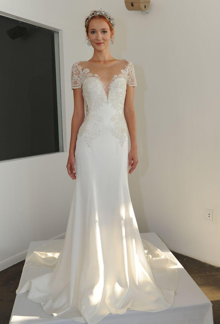 Marchesa Fall 2016 Ornately Embroidered Ribbon Work Lace Ed Wedding Dress